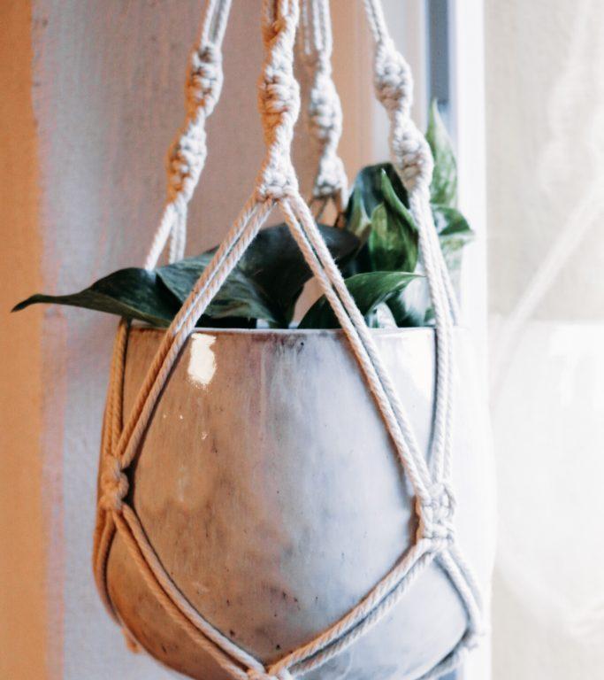 Blumenampel Makramee mit Pflanze