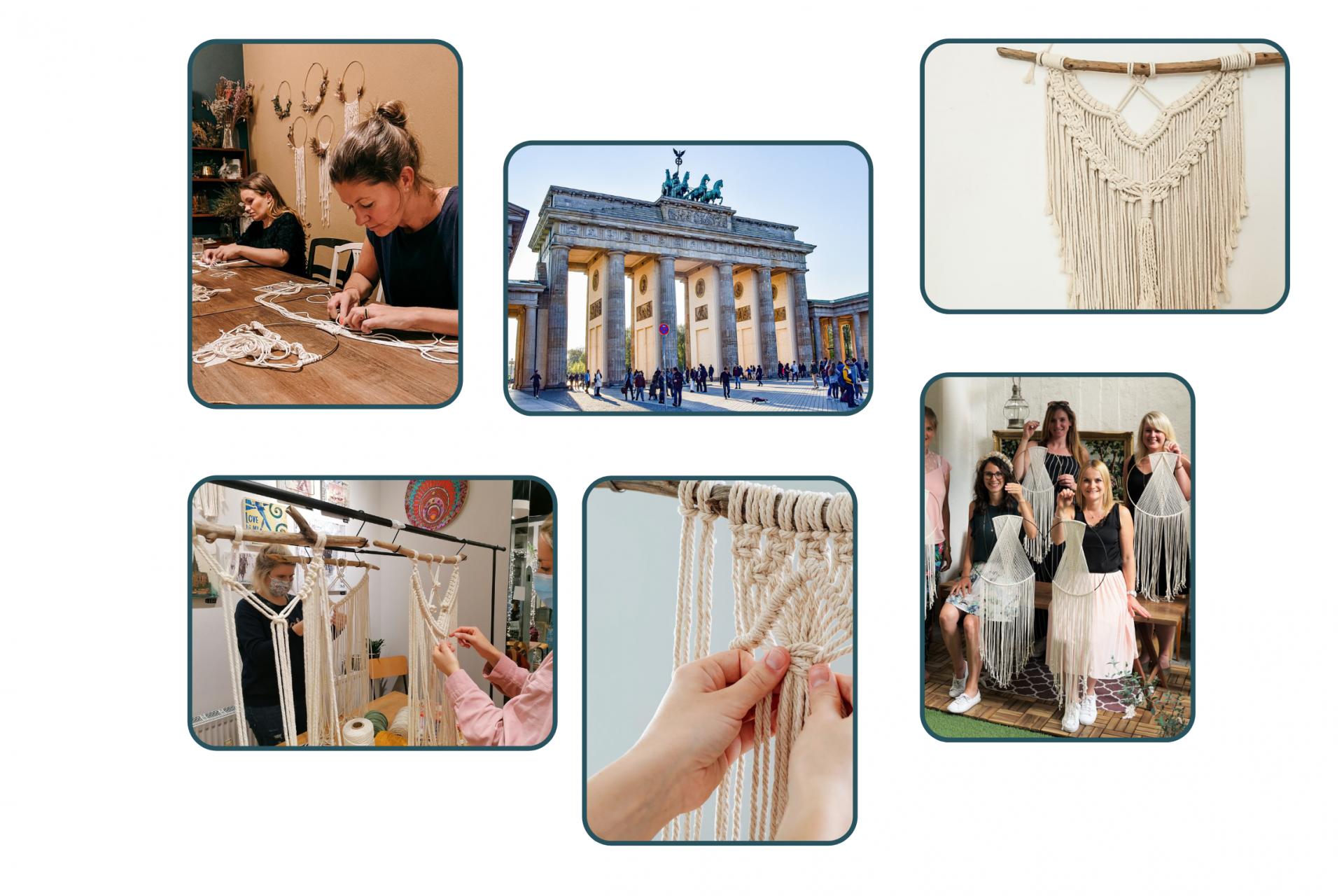Collage von Makramee Workshops in Berlin