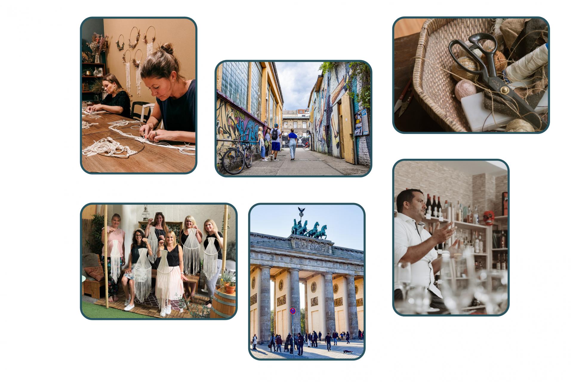 Collage von Workshops und Erlebnissen in Berlin