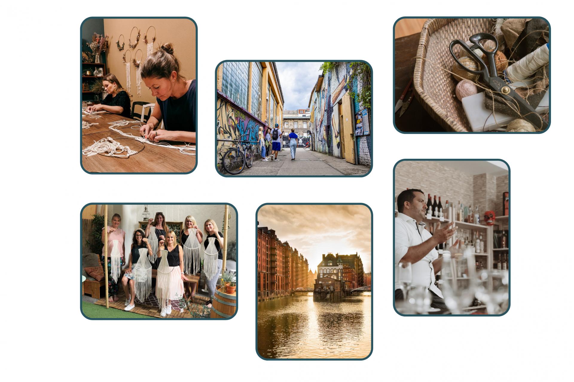 Collage von Workshops und Erlebnissen in Hamburg