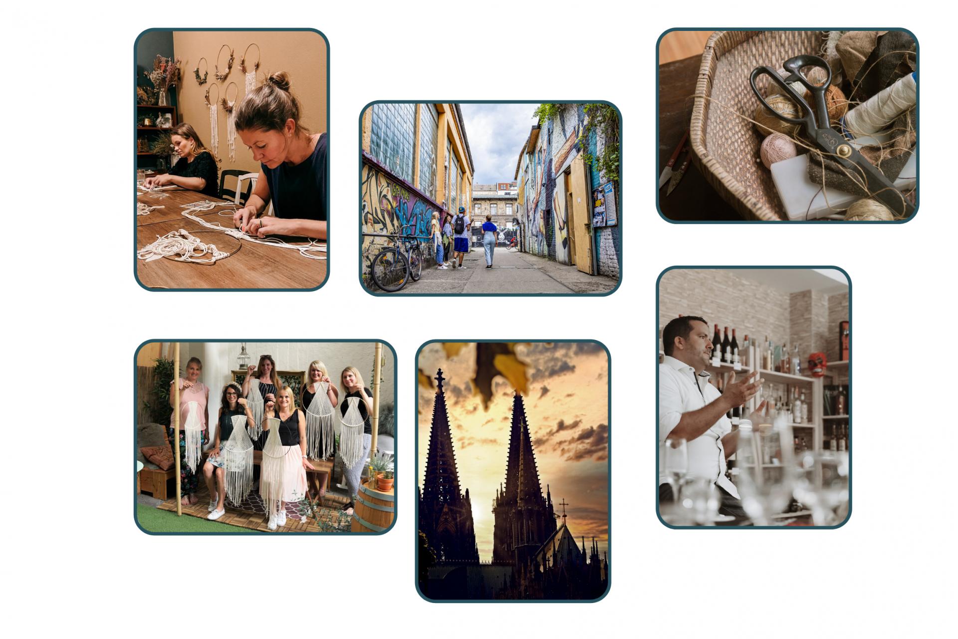 Collage von Workshops und Erlebnissen in Köln