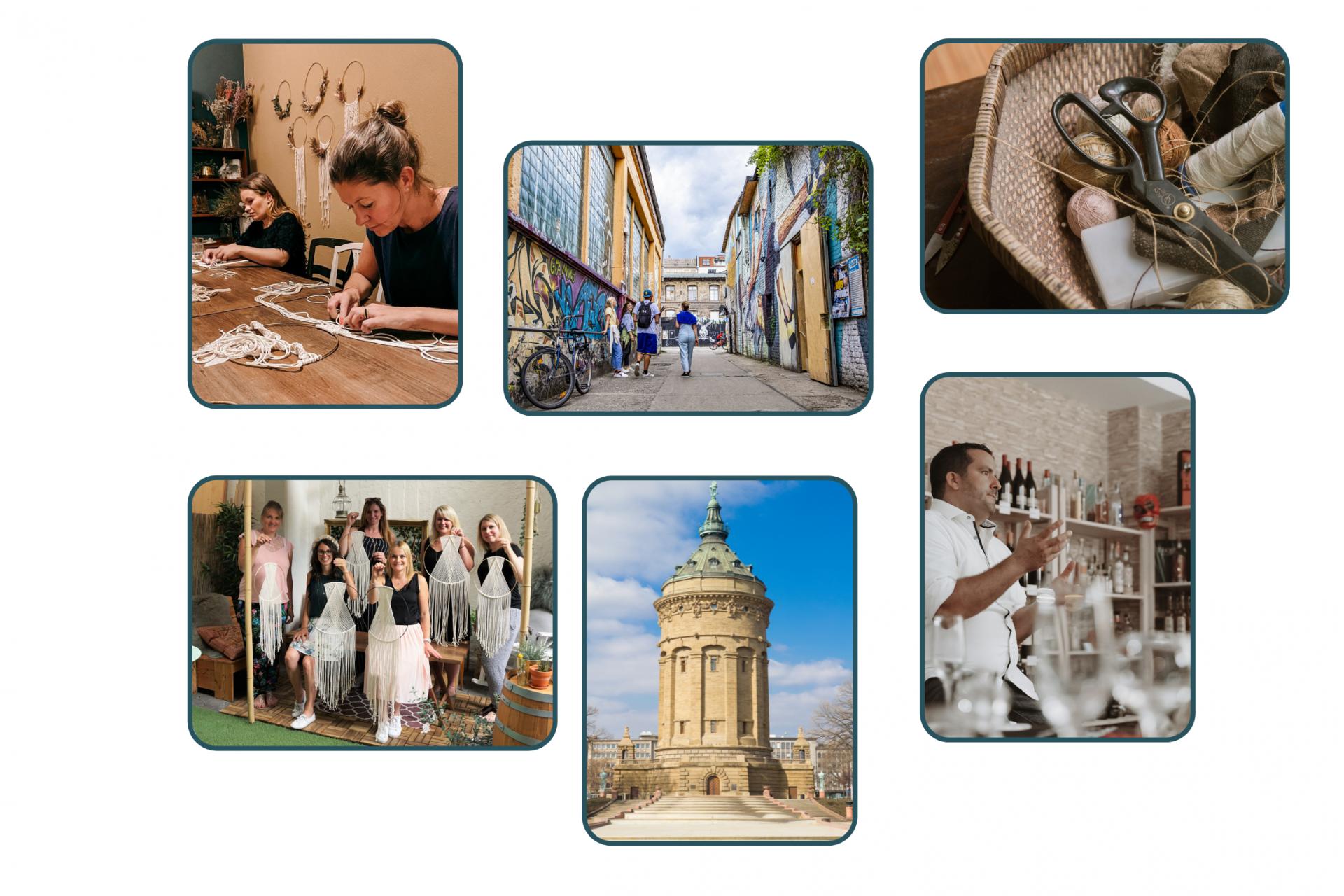 Collage von Workshops und Erlebnissen in Mannheim