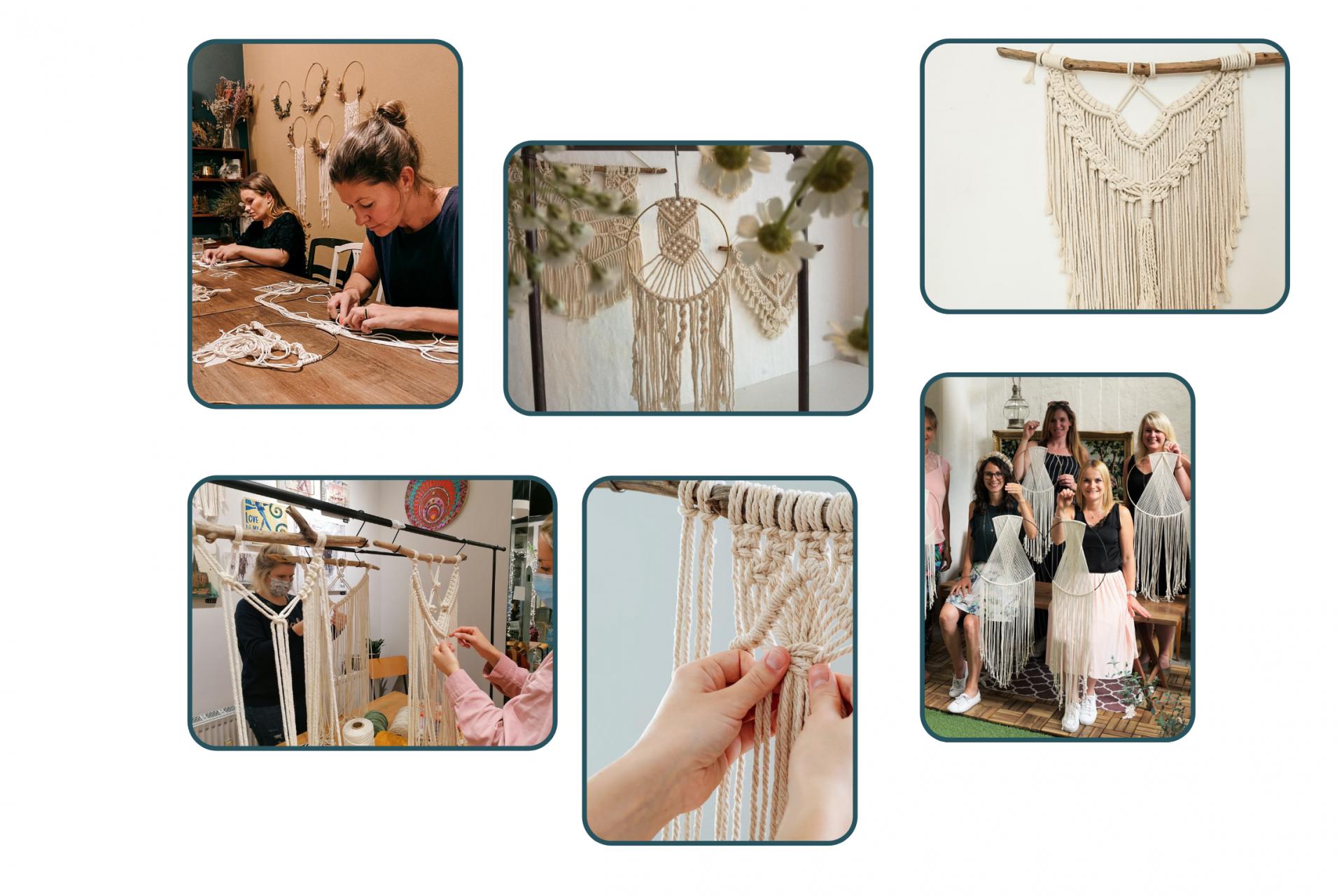 Collage von Makramee Workshops