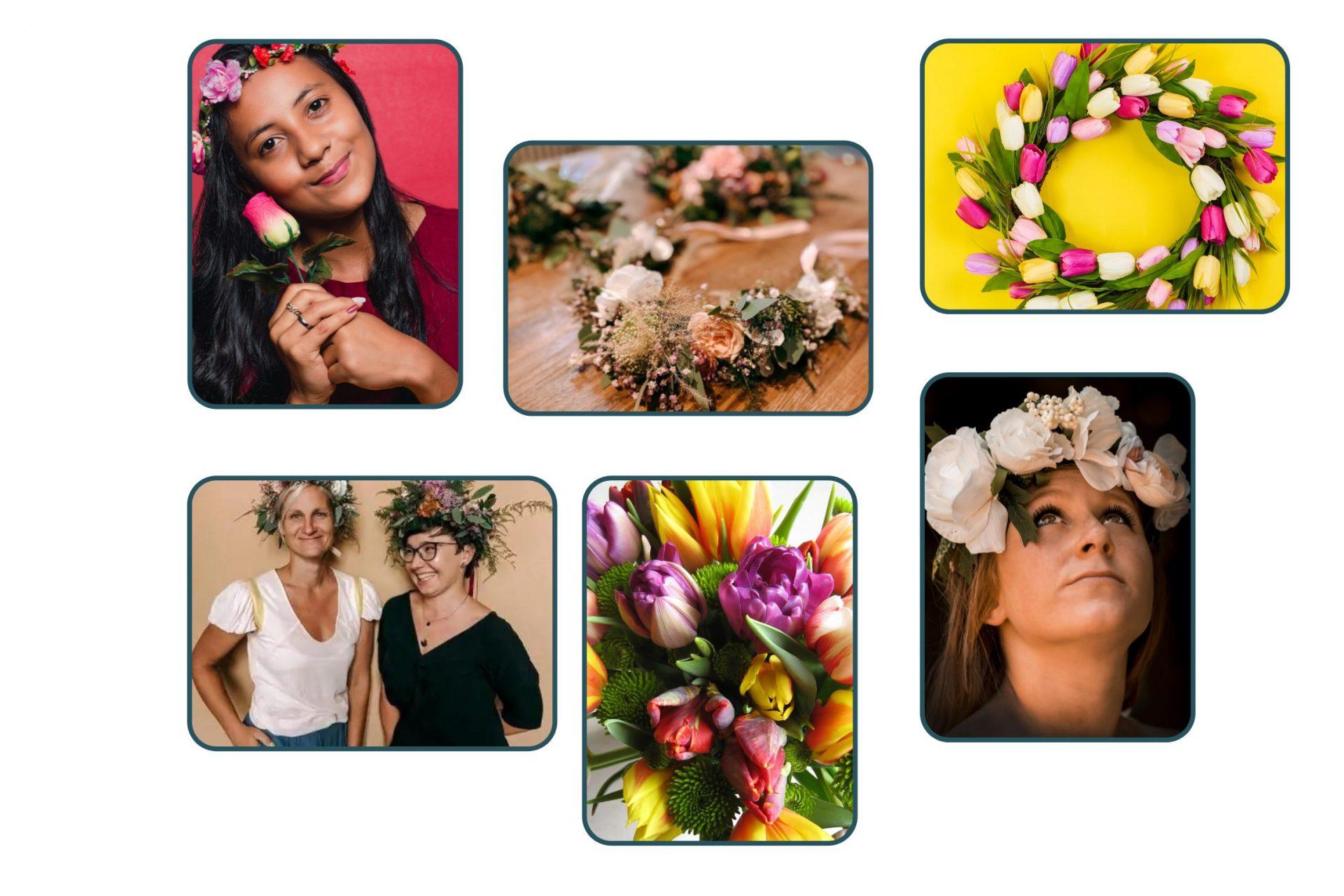 Collage von Blumenkranz Workshops als Gruppenevent