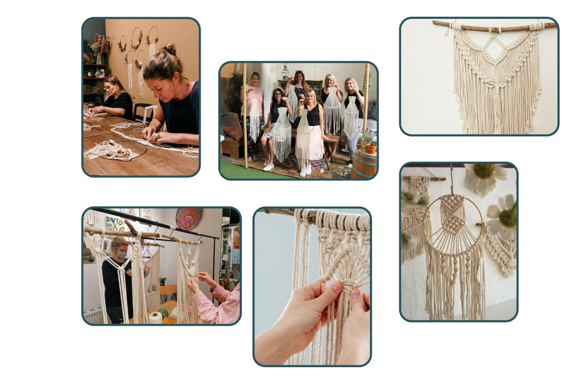Collage von Makramee Workshop Gruppenevents