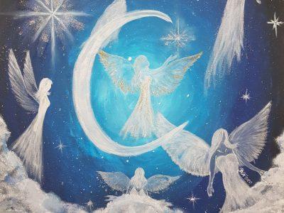 Acrylgemälde von Engeln und Wolkenhimmel