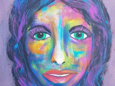 Mit Acrylfarbe gemaltes Portrait