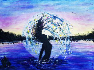 Acrylgemälde von Frau im Wasser