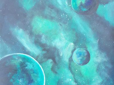 Acrylgemälde von der Galaxie