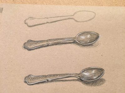 Zeichnungen von Löffeln